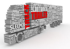 3d words shaping a truck with trailer front view Royalty Free Stock Photos