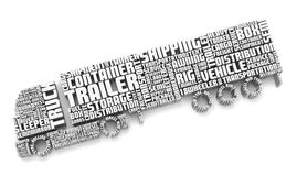 3d words shaping a truck with trailer Royalty Free Stock Photos