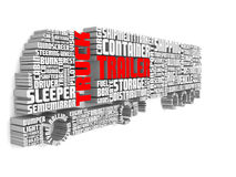 3d words shaping a truck with trailer and shadows on wall Royalty Free Stock Photography