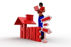 3d Work From Home Illustration Royalty Free Stock Images