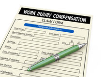 3d work injury compensation claim form Stock Image