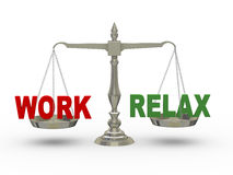 3d work and and relax on scale. 3d illustration of word work and relax on scale Stock Photo