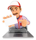 3D Worker coming out a laptop screen with a blank card. 3d working people illustration. Worker coming out a laptop screen with a blank card. Isolated white Royalty Free Stock Image