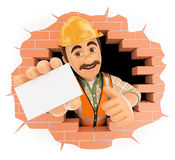 3D Worker coming out a wall hole with a blank card. 3d working people. Worker coming out a wall hole with a blank card. White background Royalty Free Stock Photography