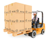 3D Worker driving a forklift loaded. 3d working people. Worker driving a forklift loaded with pallets of boxes. White background Stock Images