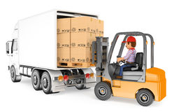 3D Worker driving a forklift loading a truck Royalty Free Stock Photo