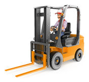 3D Worker driving a forklift unloaded Royalty Free Stock Photo