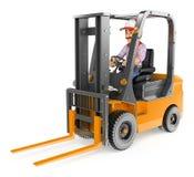 3D Worker driving a forklift unloaded. 3d working people. Worker driving a forklift unloaded. White background vector illustration