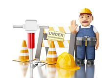 3d Worker with jackhammer, cones and under construction sign. 3d illustration. Worker with jackhammer, cones and under construction sign. Construction concept Royalty Free Stock Photos