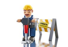 3d Worker with jackhammer and under construction sign. 3d illustration. Worker with with jackhammer and under construction sign. Construction concept. Isolated Royalty Free Stock Images