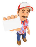 3D Worker showing a blank card. 3d working people. Worker showing a blank card. White background Stock Photos