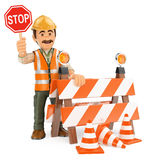 3D Worker with stop sign. Under construction. 3d working people illustration. Worker with stop sign. Under construction. White background Royalty Free Stock Images