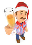 3D Worker toasting with a glass of champagne Stock Photography