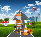 3d worker and traffic cones. Road climbs up. Small houses, skyscrapers as a backdrop Stock Photography