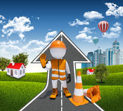 3d worker and traffic cones Stock Image