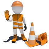 3d worker and traffic cones Royalty Free Stock Images