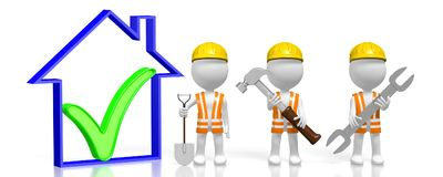 3D workers - construction experts. 3D cartoon character holding shovel, hammer and wrench, house shape - great for topics like house building etc Stock Photo