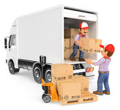 3D Workers unloading boxes from a truck. 3d working people. Workers unloading boxes from a truck. White background Royalty Free Stock Photos
