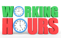 3d Working hours text with clocks depicting 9 to 5 job Royalty Free Stock Photography