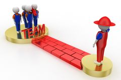 3d working men as a team and a leader Royalty Free Stock Images