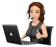 3D Call center operator working with a laptop and thumb up. 3d working people illustration. Call center operator working with a laptop and thumb up. White Royalty Free Stock Images