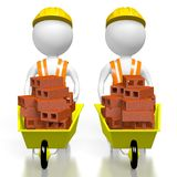 3D workmen with bricks. 3D two cartoon characters holding wheelbarrows with bricks - great for topics like construction site, house building etc Stock Photo