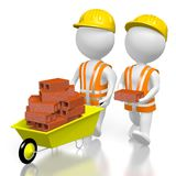 3D workmen with bricks. 3D two cartoon characters, wheelbarrow with bricks - great for topics like construction site, house building etc Royalty Free Stock Photo
