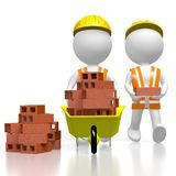 3D workmen with bricks. 3D two cartoon characters, wheelbarrow, bricks - great for topics like construction site, house building etc Stock Image