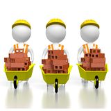 3D workmen holding wheelbarrows - house building concept. 3D three cartoon characters holding wheelbarrows with bricks - great for topics like construction site Royalty Free Stock Photo