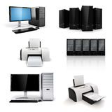 3d workplace technology equipment. On whie background Stock Image