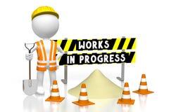 3D works in progress concept. 3D cartoon character/ worker wearing vest, helmet and holding shovel, barricade - works in progress concept - great for topics like Stock Photo