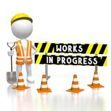 3D works in progress concept. 3D cartoon character/ worker wearing vest, helmet and shovel, traffic cones, barricade - works in progress text - great for topics stock illustration