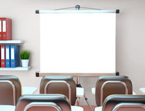 3D Workshop with blank projector screen. Office. Mockup. 3D Illustration workshop with blank projector screen. Office. Mockup Royalty Free Stock Photography