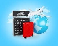 3d World, Airport board and travel suitcases. 3d illustration. Earth, Airport board and travel suitcases. Travel and vacation concept Stock Photography