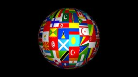 3d World Flag Globe Animation stock video footage