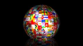 3d World Flag Globe Animation Stock Image