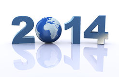 3d world globe and year 2014 Royalty Free Stock Image