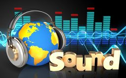 3d world in headphones 'sound' sign. 3d illustration of world in headphones over sound wave black background with 'sound' sign Royalty Free Stock Images
