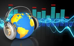 3d world in headphones world in headphones. 3d illustration of world in headphones over sound wave black background Royalty Free Stock Images