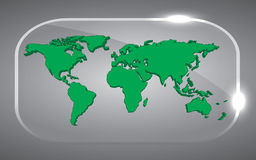 3D world Map. Beautiful Background 3D world Map green in glass Stock Image