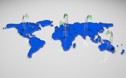 3D world map. Blue 3d world map with antenna on 5 Continent Royalty Free Stock Photos