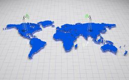 3D world map. Blue 3d world map with antenna on wire background Royalty Free Stock Photo