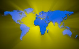 3D world map. Blue 3d world map with glow light Stock Images