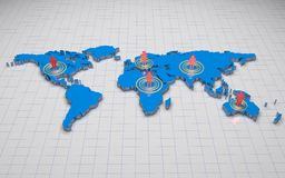 3D world map. Blue 3d world map with people on 5 Continent Stock Photo