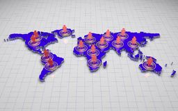 3D world map. Blue 3d world map with people on wire background Stock Photo