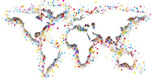 3d world map. 3d world map with color confetti. Vector paper illustration royalty free illustration