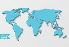 3d world map. With a long shadow isolated on a light background stock illustration