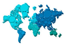 3D world map with dots, vector. Background Royalty Free Stock Photography