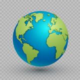 3d world map globe. Three-dimensional spherical model of Earth with land surface to navigate and explore geographic data vector illustration