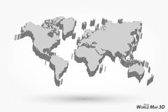3D World map on gray background . The 3D World map on gray background vector illustration
